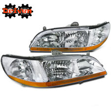 For Honda Accord 98-01 2/4 4cly V6 JDM Chrome Headlights Amber Reflector Inspire