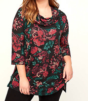 Women's 4X 30/32 Cowl Neck Swing Top Catherine's Floral Tunic $55 Bust 66