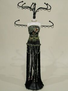 """Jewelry Organizer, Black Jeweled Gown Mannequin """"Green Accents"""""""