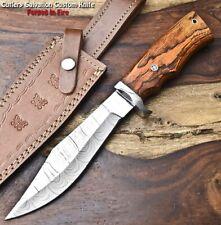 Cutlery Salvation Handmade Damascus Steel Blade Hunting Bowie Knife | HARD WOOD