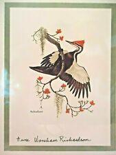 Pileated Woodpecker with Dogwood Berries Print Anne Worsham Richardson 1972 bird