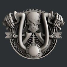 3d STL models for CNC, Artcam, Aspire, relief  skull motorcycle