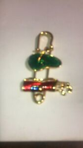 Golf  Brooch Large Safety Pin  Red Green Emanuel Gold Tone
