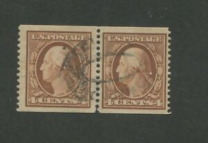 1909 United States Postage Stamps #354 Used F/VF Coil Pair PSE Certified