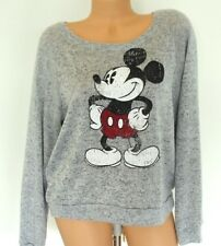 Disney Juniors Sweater Size XXL 19 Gray Mickey Mouse Long Sleeve Knit Distressed