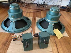 Vintage Altec Lansing 605a Duplex Speakers PAIR w/ N-1600-c Crossovers Clean!