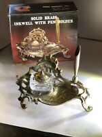 Square Glass Inkwell Dome  / Brass Top On Brass Tray With Pen Quill Holder