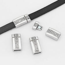 3Sets Antique Silver 10x2mm Rhinestone Magnetic Clasp For 5mm 10mm Flat Leather