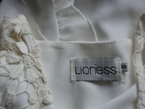 LIONESS WhiteSheerLaceFauxSilkFrilledLegShortallsSize8