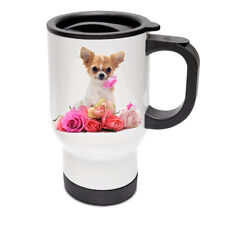 Chihuahua Design Chihuahua and Flower White Thermal Travel Mug
