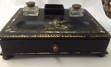 RARE ! ART DECO PAPER MACHE INKWELL MOTHER OF PEARL TRIM