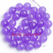 """12mm Natural Light Purple Jade Faceted Round Shape Gems Loose Beads Strand 15"""""""