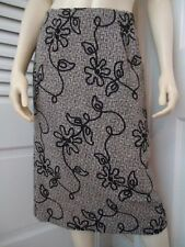 TALBOTS Skirt 4 Rayon Wool Blend Floral Soutache Designed Tweed Straight Lined