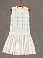 AUTH Ted Baker LORNIA Knitted Sleeveless Skater A-line dress White 0-5