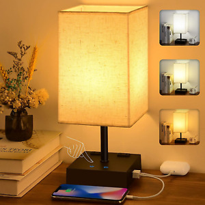 3-Color Touch Control Table Lamp, Comzler Dimmable Bedside Lamp with 2 USB Ports