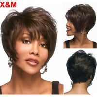 Short Wavy Wigs For Women Black Brown Hair Layered Wigs For Black Women Perruque