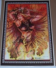Red & Blue Fire Demoness * 12 X 19 Art by Rak * Hand Signed * Pair * Limited