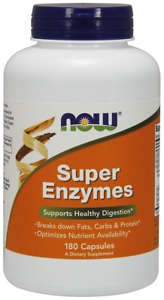 NOW Foods Super Enzymes Health Digestion Nutrient Availability 180 Caps 6/2023EX
