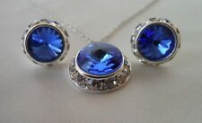 Swarovski Elements Crystal in Sapphire with Rhinestones Necklace and Earring Set
