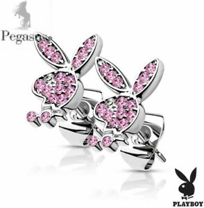 BOXED & OFFICIALLY LICENSED PLAYBOY Pink  Crystal Stud Earrings