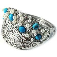 Bracelet Silver Swarovski ELMT CRYSTAL Turquoise White Pearl Rose flower vintage