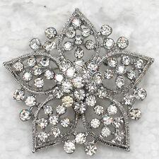 Silver Crystal Bridesmaid's Spring Snowflake Flower Wedding Brooch Pin US seller