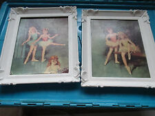 """lot of 2 Vintage Ballerina Pictures In White 10""""  x 12"""" Frames"""