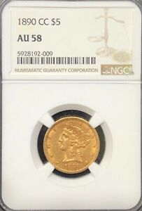 NGC AU58 1890-CC $5 Liberty Gold Coin.! NR.!