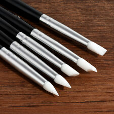 5Pcs Soft Silicone Nail Art Stamp Pens Brush UV Gel Carving Craft Pencils Tool