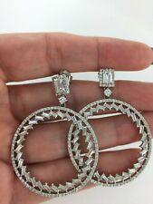 Glamorous Baguette & Round CZ Large Modern Dangle Silver Hoop Earrings