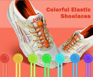2 Pairs Elastic Shoelaces No Tie For Sneakers Sports Adults Kids Locking Laces
