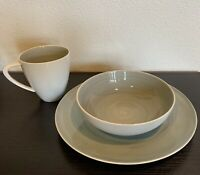 Mikasa Savona Grey 3 Piece Porcelain Dinnerware Place Setting