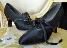 Vintage 1920s Black Satin Shoes Size 5 1/2
