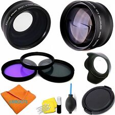 58mm HD 3 LENS WIDE ANGLE + ZOOM + MACRO FILTER KIT FOR CANON REBEL T6 T6I T6S