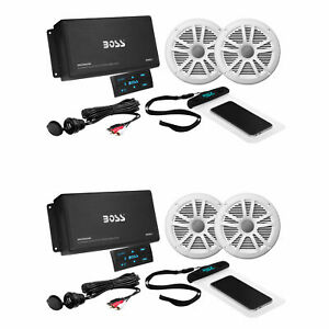 BOSS ASK902B.6 Marine Audio Amp, Speakers, USB Cable, & Phone Pouch (2 Pack)