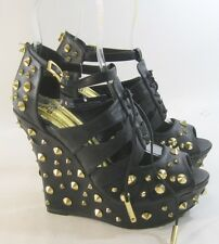 "Black/Gold Spike 5"" High Wedge Heel 1.5"" Platform Open Toe Sexy Shoes Size 7"