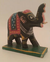 Wooden Hand Painted Lucky Elephant Figure Up Trunk Statue Indian Bohemian Decor