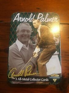 Arnold Palmer Vintage Metallic Impressions 5 All-Metal Collector Cards & Tin