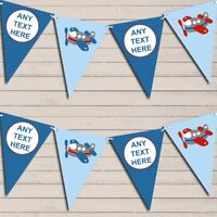 Red & Blue Plane Aeroplane Children's Birthday Bunting Garland Party Banner