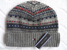 TOMMY HILFIGER FOTO GREY LAMBSWOOL BEANIE Tuque MENS Mutze Hat NEW WITH TAGS