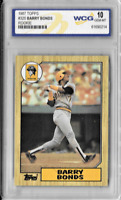Barry Bonds 1987 Topps Rookie Card No#320 Graded by WCG 10 Gem Mint