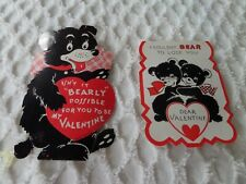 2 Vtg Bear Valentines Red Black white Anthropomorphic