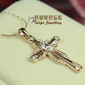 18KRoseGold Plated Dazzling Cross PendantNecklace MadeWith SwarovskiCrystal