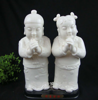 "8"" Chinese Dehua White Porcelain Stand People Tong Boy Tong Girl Kid Statue Pair"
