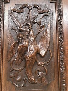 Stunning Large French Death Game Hunt /Black Forest Door panel in wood