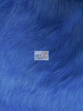 FAUX FAKE FUR SOLID SHINY TINSEL LONG PILE FABRIC - Royal Blue - SOLD BTY