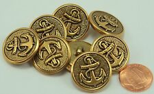 """8 Puffed Antiqued Brass Tone Metal Buttons Anchor Nautical 7/8"""" 23MM # 6138"""