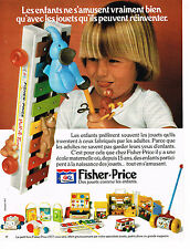 PUBLICITE ADVERTISING 044 1977 FISHER-PRICE  jeux jouets