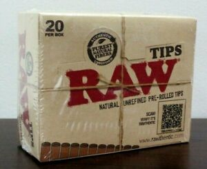 RAW Natural Unrefined Pre-Rolled Filter Rolling Tips~Full Sealed Box 20