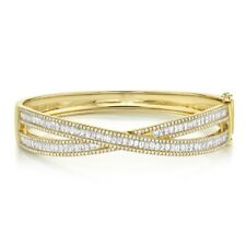 Baguette Diamond Crossover X Bangle 14K Yellow Gold Criss Cross Bracelet Womens
